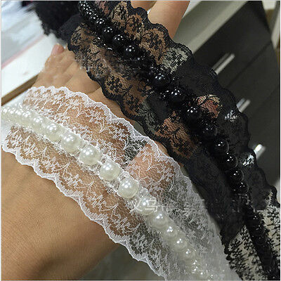 1,2 Yards Embroidered Pearl Lace Edge Trim Wedding Ribbon Applique DIY Sewing