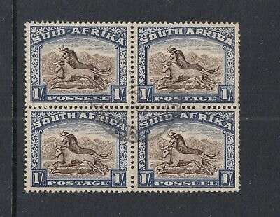 SOUTH AFRICA: 1939 1/- Brown & Chalky-blue SG 62, very fine used block of 4.