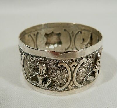 Antique Colonial Indian Solid SILVER NAPKIN RING Deity & Crest Deities
