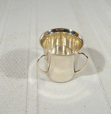 Antique STERLING Silver MINIATURE TYG / 3 handle LOVING CUP 1918  Dublin Ireland
