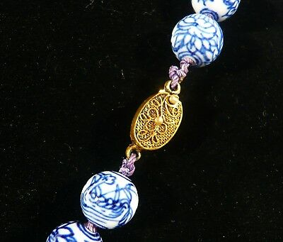 Vintage Chinese Blue & White Porcelain NECKLACE Lotus Birds Dragon BEADS 24 3/4""