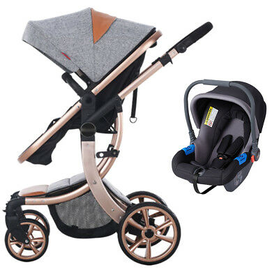 Baby Strollers Foldable Pushchair 3 in 1 Travel System Kids Car Seat Cover NBTS