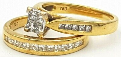 Solid! 18K Yellow Gold Genuine 1.30Ct Diamond Ladies Engagement Ring 750 18Ct