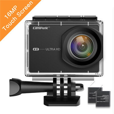 Campark Action Sport Camera 4K Touch Screen WiFi 16MP Waterproof Remote Control