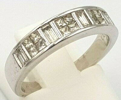 18K White Gold Genuine 0.80Ct Diamond Ladies Engagement Ring Band 750 18Ct
