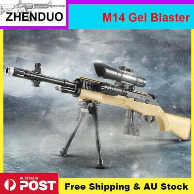 AUSSIE Stock: Manual M14 Gel Ball Blaster Toy Sniper Gun Water Bullets Mag-fed