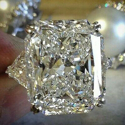 Huge White Sapphire Gems Size 6-10 925 Silver Wedding Engagement Rings Jewelry