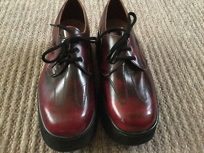 Mens 50's 60's Vinatge Lace Up Shoes Burgundy Leather Upper Size 6 Round Toe