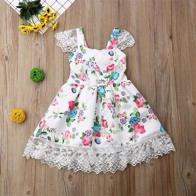 Toddler Kid Baby Girl Floral Sleeveless Party Pageant Foraml Dress Clothes AU