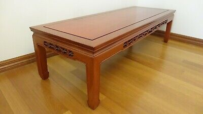 Vintage Traditional Chinese rosewood coffee table with hand carvings