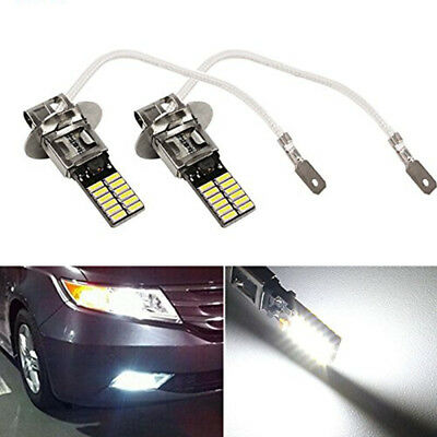 2X 12V H3 6500K White 24-SMD 4014 LED Bulb DRL Fog Light Driving Lamp Tool UK*