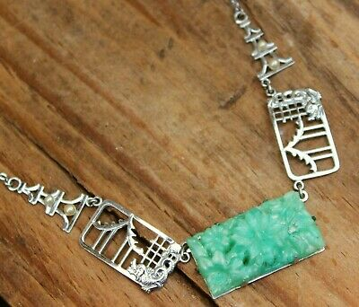 Art Deco Necklace Chrome & Jadeite Jewellery Antique 20s 30s Vintage Jewelry