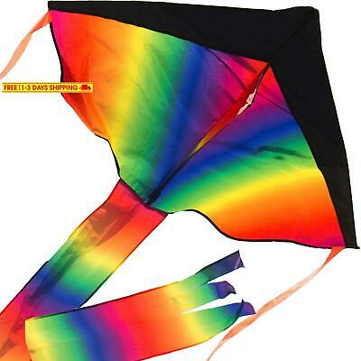 Large Delta Kite/Rainbow Kite (200' of Line) - Easy to Assemble, Launch, Fly -