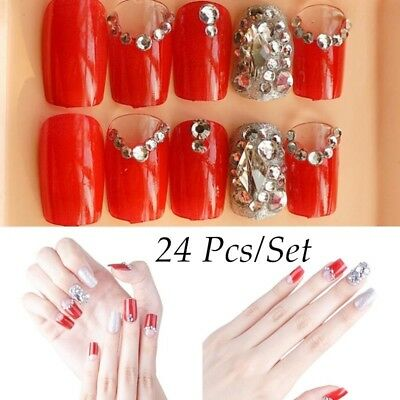 24pcs 3d False Nails Pre-glue Press on Long Diamond Full Cover Nails Art Tip Set