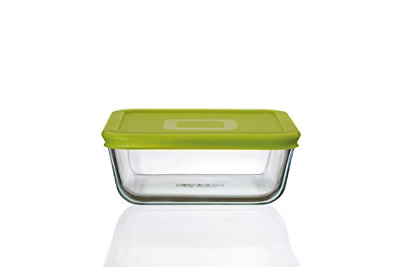 Pyrex 4in1 Glass 0.85L Square Dish with Green Lid