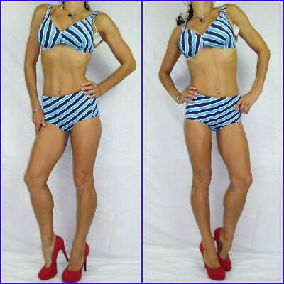 VINTAGE 60s gogo MOD SWIMSUIT 8 10 NAUTICAL STRIPE BIKINI blue white navy NWT