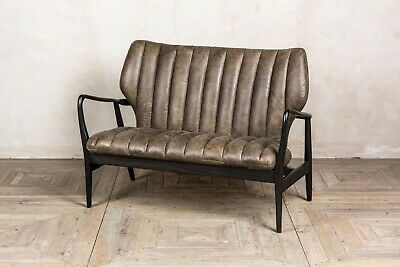 Conker Brown Leather Mid Century Modern Style Two Seater Sofa Ribbed