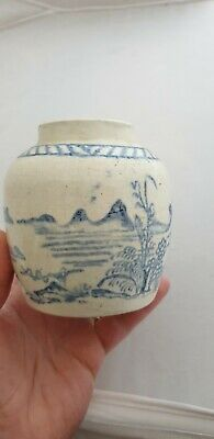 Antique Blue & White Hand Painted Chinese / Korean Temple Ginger Jar Pot No Lid