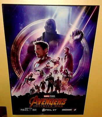 Cinemark MARVEL'S AVENGERS INFINITY WAR 13 x 19 Poster Framed Theaters Exclusive