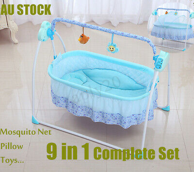 Electric Baby Crib Cradle Auto Rocking Chair Newborns Bassinets Sleep Bed Rocker