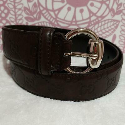 20e2b3dc3 Authentic GUCCI BELT Leather Dark Brown Buckle Silver Size size 96/40  Women's