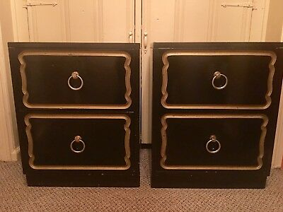 Dorothy Draper / Heritage Black & Gold Side Table / Cabinets  Mid-Century Modern