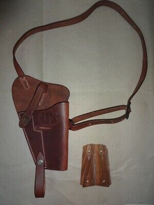 Leather Shoulder Holster for U.S. WWII M3 Brown w/Hand Grips-Mid Brown-Repro Kw0