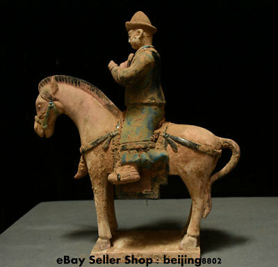 "15"" Chinese Old antique Tang Sancai Porcelain People Official Ride Horse Statue"