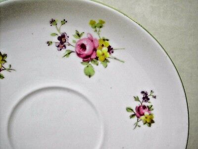 """Vintage Shelley Saucer 5 5/8"""" Fine Bone China Green Rim on White with Florals"""