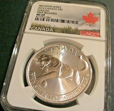 2016 NGC MS 69 Canada Predator Series COUGAR $5 .9999 1 OZ SILVER FIRST RELEASES