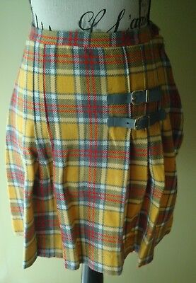 f87e3a3342 Plaid 60's vintage mustard (yellow)/gray fall color plaid pleated skirt  Size 14