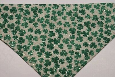 Dog Bandana, OVER THE COLLAR, S,M,L,XL, St.Patricks's Day Shamrocks/white!