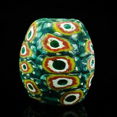 Vintage Amazing Handmade Wound Mosaic Glass bead Protection Eyes Peacock Feather