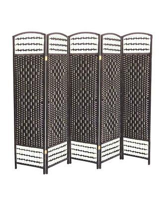 Hand Made Partition Folding Room Divider Separator Privacy Screen Black 5 Panel