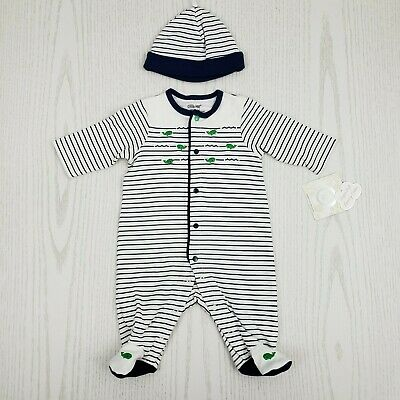 bf275486a31 Little Me Baby Boy Footed Sleeper   Matching Hat Newborn Blue Stripe Whales  New