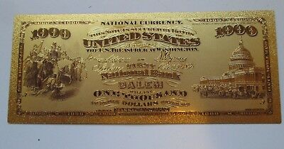 $1000 SALEM, MA  24K GOLD PLATED BANKNOTE ~ 1st NATIONAL BANK ~ BRAND NEW