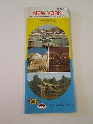 Vintage 1972 Sunoco DX New York - Oil Gas Service Station Travel Road Map