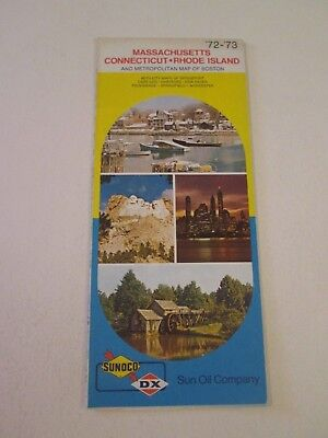 Vintage 1972 Sunoco DX MA CT RI Oil Gas Service Station Travel Road Map