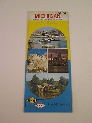 Vintage 1972 Sunoco DX Michigan - Oil Gas Service Station Travel Road Map