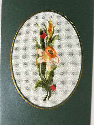 """completed finished cross stitch """"Pretty Flower"""" card  by 7"""