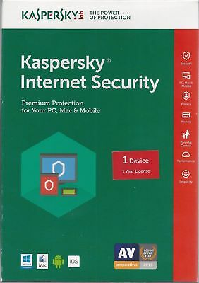 Kaspersky Internet Security 2018 - 1 PC DEVICE 1 Year (Windows Only)