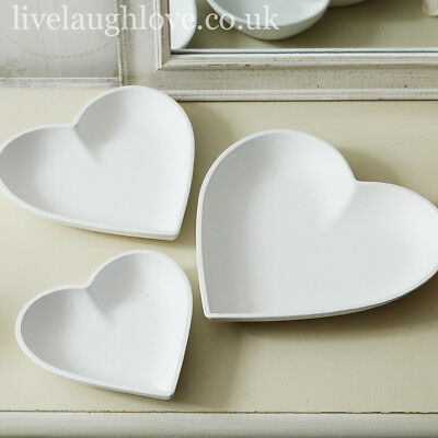 Set Of 3 White Wooden Heart Serving Display Trays Snacks Nibbles