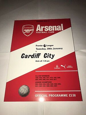 Arsenal V Cardiff City Programme Official! 29/01/2019 Emiliano Sala Tribute