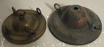 Antique non matching pair thin pressed 1940s ceiling canopy chain holders