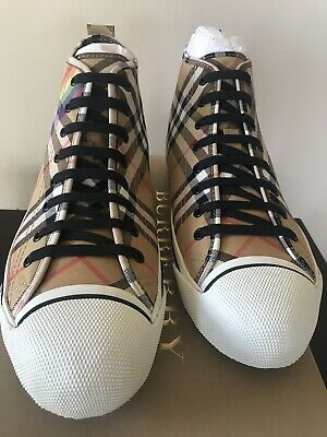 dd4631a43 Burberry Men's Kingly High-Top Rainbow Check Sneakers, Authentic) EUR Size  44