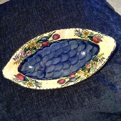 Vintage Maling Oval Lustre Dish 1526 Gilt Edged With Flowers Newcastle On Tyne
