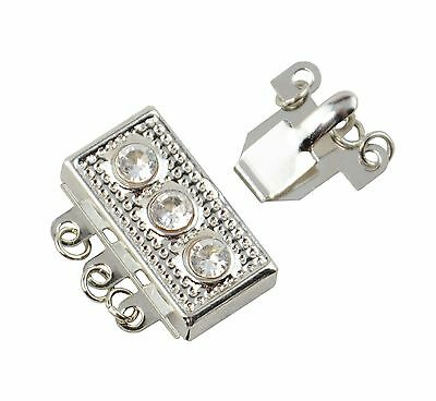 3 x Silver Coloured Clasps With Rhinestones Jewellery Making Fasteners Beading