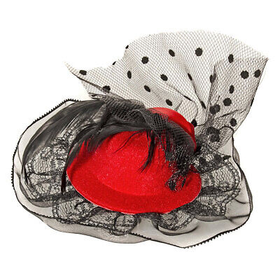 Blue Banana Ladies Womens Feather Mini Rose Red Clip Hat Fascinator