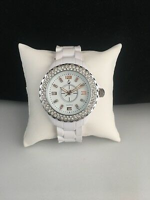 """Premier Designs WHITE HOT 7.25"""" Rose Gold & Silver Crystals Watch DEFECTED"""
