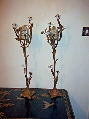 Pair Tall Cast Metal And Porcelain Flower Candle Holders Antique Gold